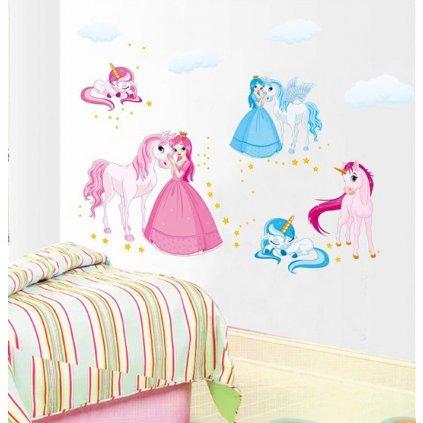 Samolepka na stenu Princezná a jednorožec
