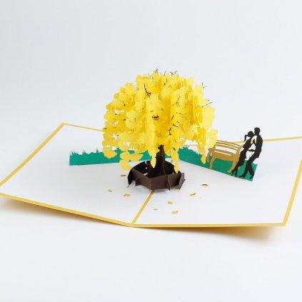 3D prianie Láska pod žltým stromom