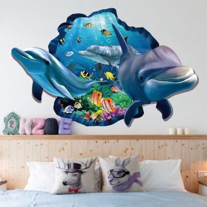 samolepka na stenu Delfíny