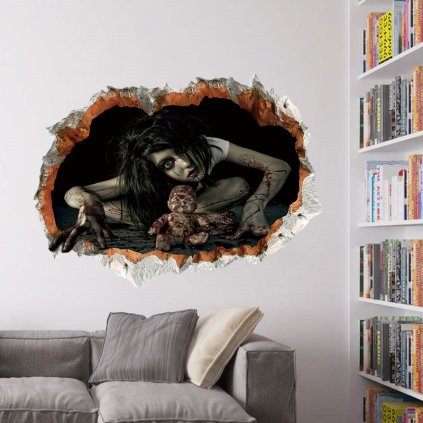 samolepka Halloween horor bábika