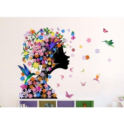 samolepka na stenu Kvetinové dievča