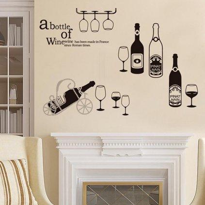 Samolepka na stanu Fľašky vína