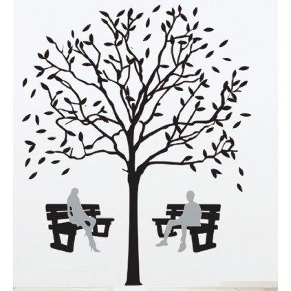 Samolepka na stenu Lavičky pod korunou stromu
