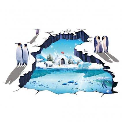 samolepka na stenu Ľadový svet ľadový medveď tučniak delfín