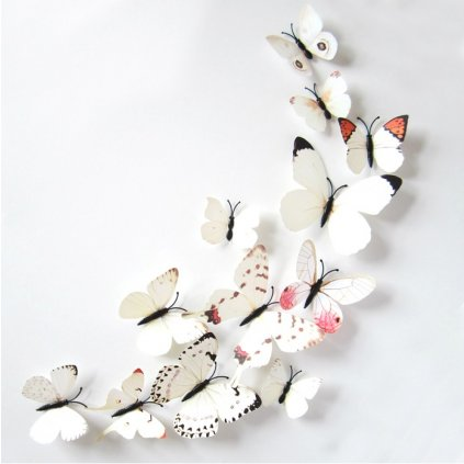3D Motýliky Biele magnet samolepka