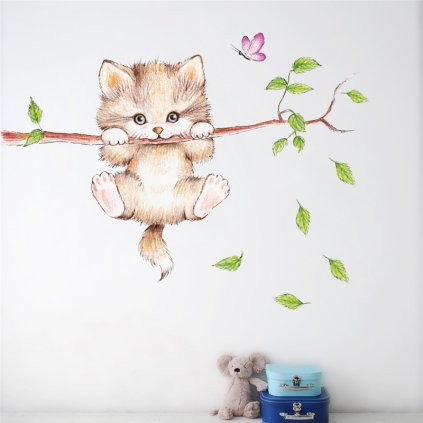 Samolepka na stenu Malé mačiatko na konári