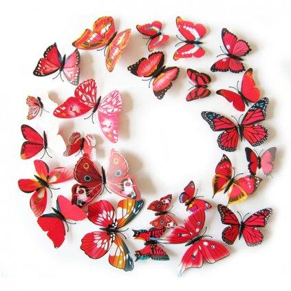 Motýliky magnet a samolepka Červené