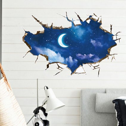 Samolepka na stenu Mesiac a hviezdy