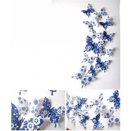 Modré motýliky s kvetmi