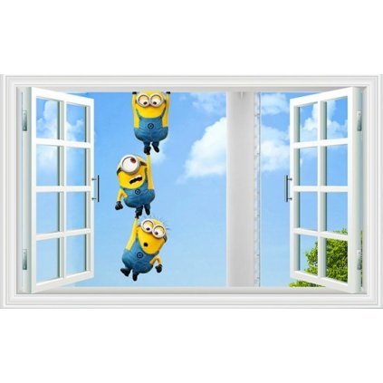 samolepka na stenu Mimoni za oknom