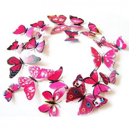 Motýliky magnet a samolepka Ružové