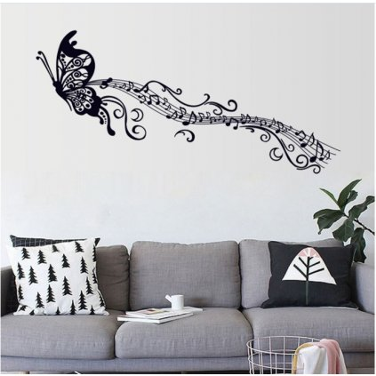 Samolepka na stenu Motýľ s notami