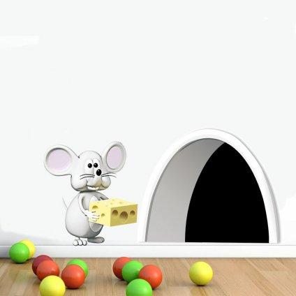 Samolepka na stenu Myšia diera