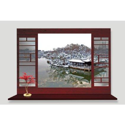 Samolepka na stenu Okno do Ázie v zime