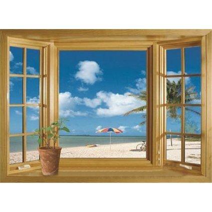 samolepka na stenu Okno na pláži