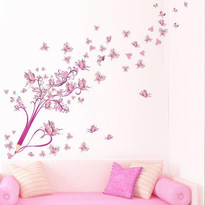 samolepka na stenu Pastelka s motýľmi