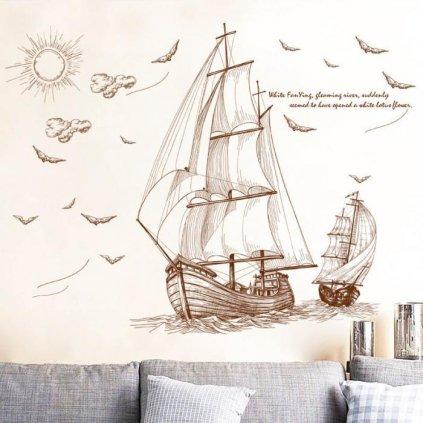 Samolepka na stenu Pirátske plachetnice