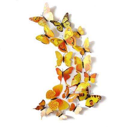 Motýliky magnet a samolepka Žlté