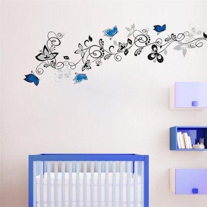 Samolepka na stenu Plaziace sa kvety s motýlikmi