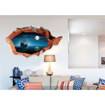 Samolepka na stenu Plávajúca loď pri splne