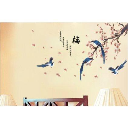 samolepka Rozkvitnutá vetva s vtákmi