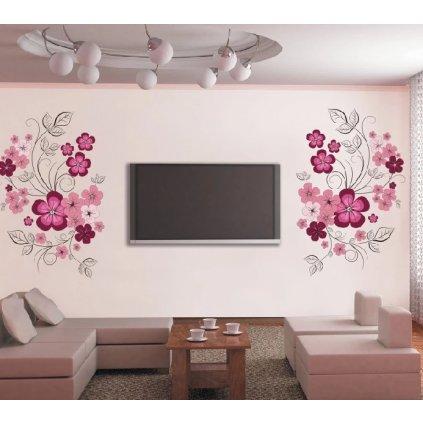 Samolepka na stenu Ružové kvety