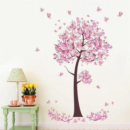 Samolepka Ružový strom motýľov