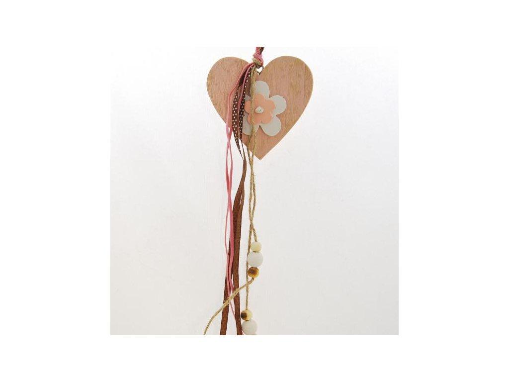 Srdce s mašlemi | dřevěné | na zavěšení