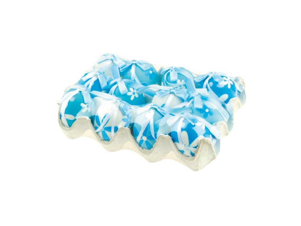 Velikonoční vajíčka | plastová | modrá| na platě | 12ks | 6cm