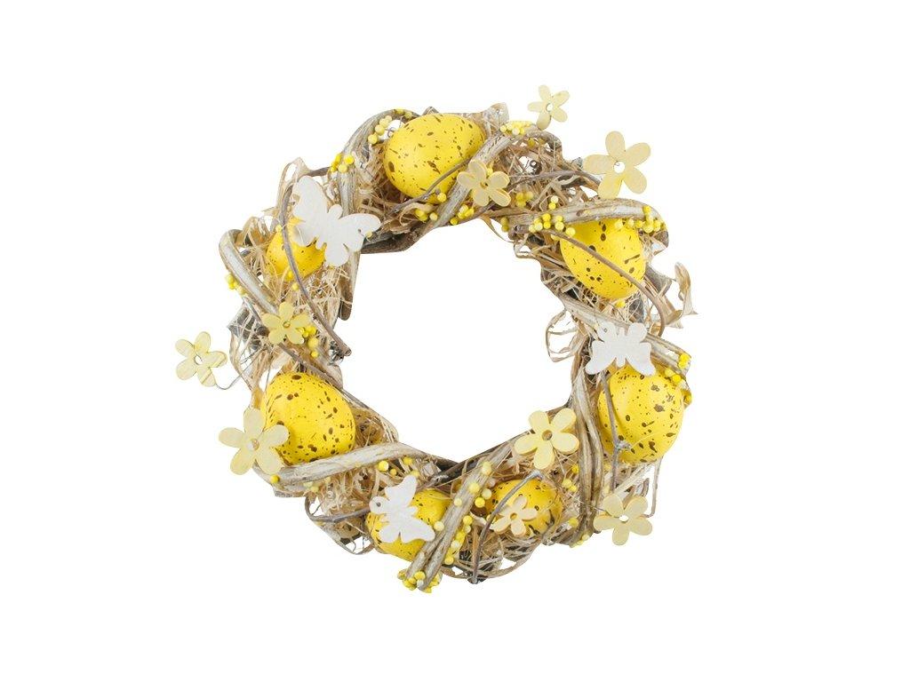Velikonoční věnec | žlutý | 22cm