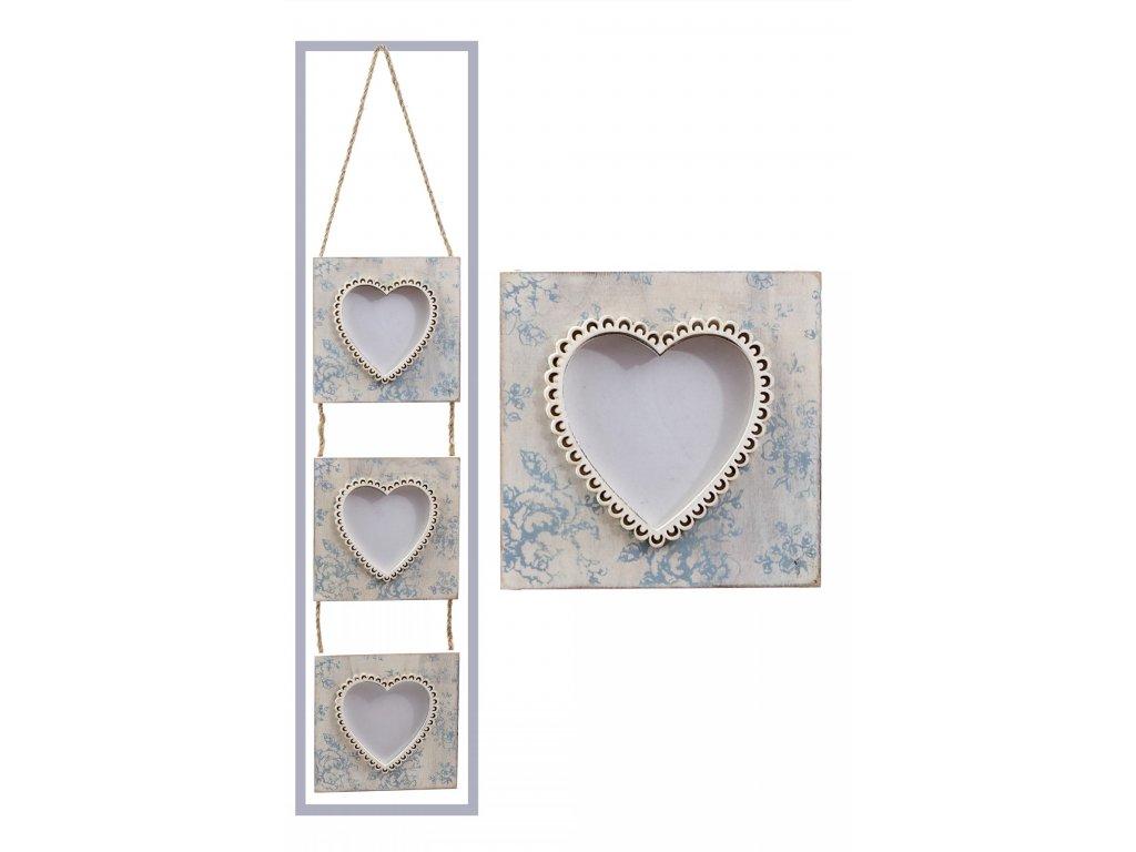 Fotorámeček 3 srdce bílo-modrý 13x44x0,5