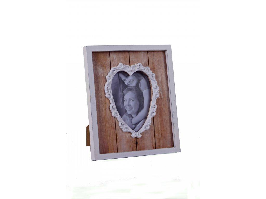 Fotorámeček | bílo-hnědý | srdce | 24x29x2,5cm
