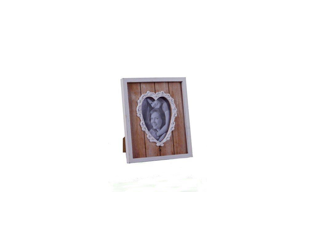 Fotorámeček | bílo-hnědý | srdce | 22x27x2,5cm