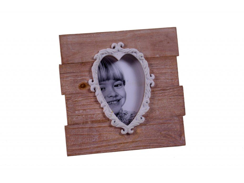 Fotorámeček | hnědý | srdce | 26x19x2cm
