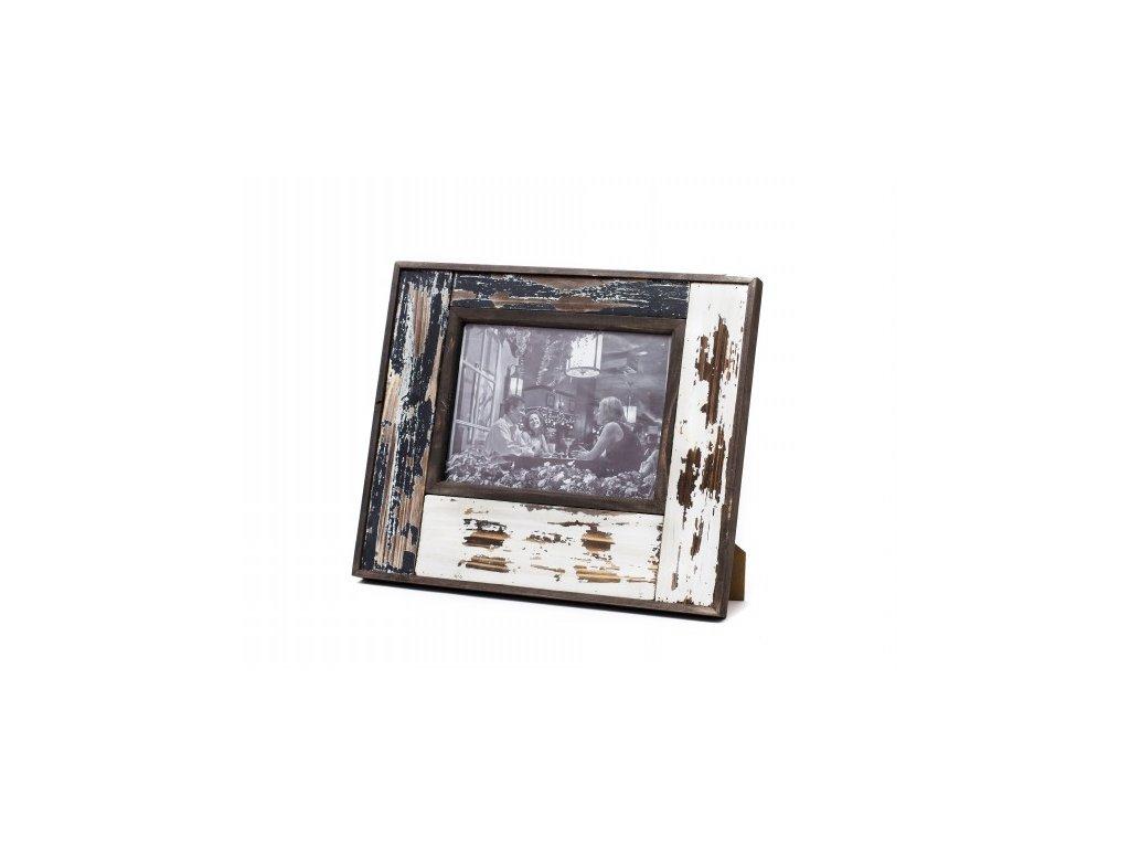 13515 fotoramecek hnedo bily patina 28x33x3cm