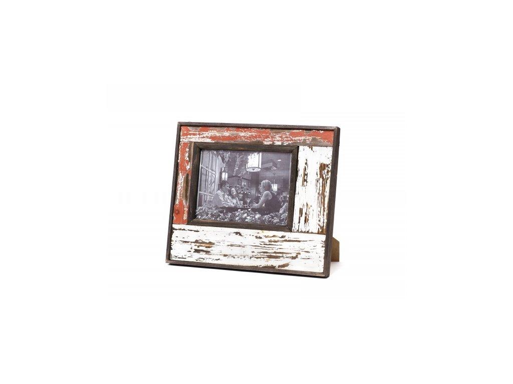 Fotorámeček   červeno-bílý   patina   28x33x3cm