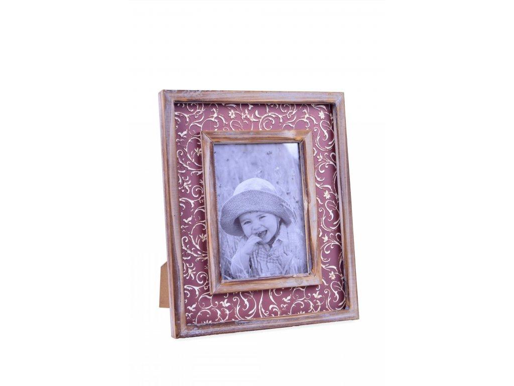 Fotorámeček | hnědý | s ornamenty | 24,5x29,5x2cm