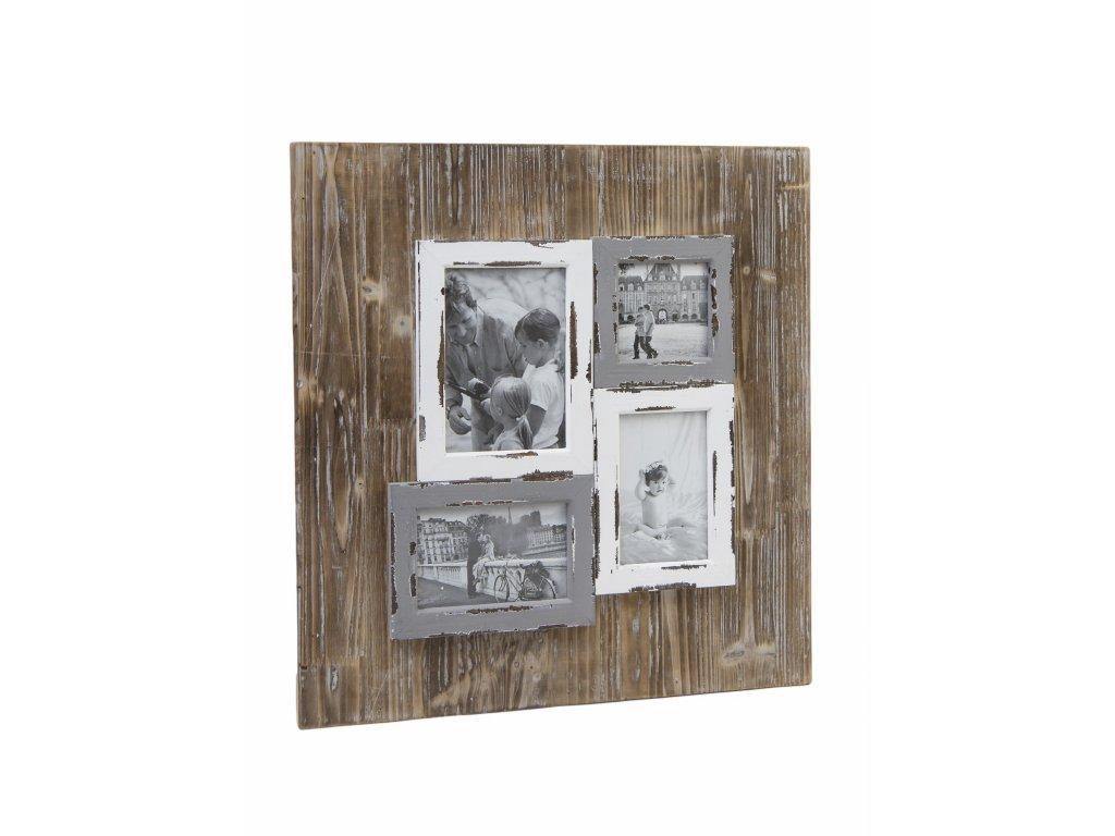 fotorámeček patina na 4 fotky 49x51x3cm