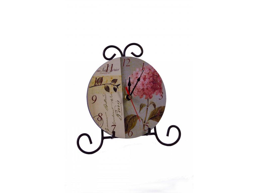 Hodiny stojánkové malé Hortenzie 23x22,5x1cm
