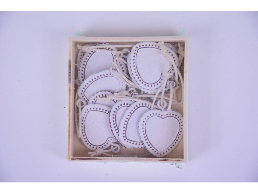 Srdíčko zdobené bílé závěsné 2x2cm