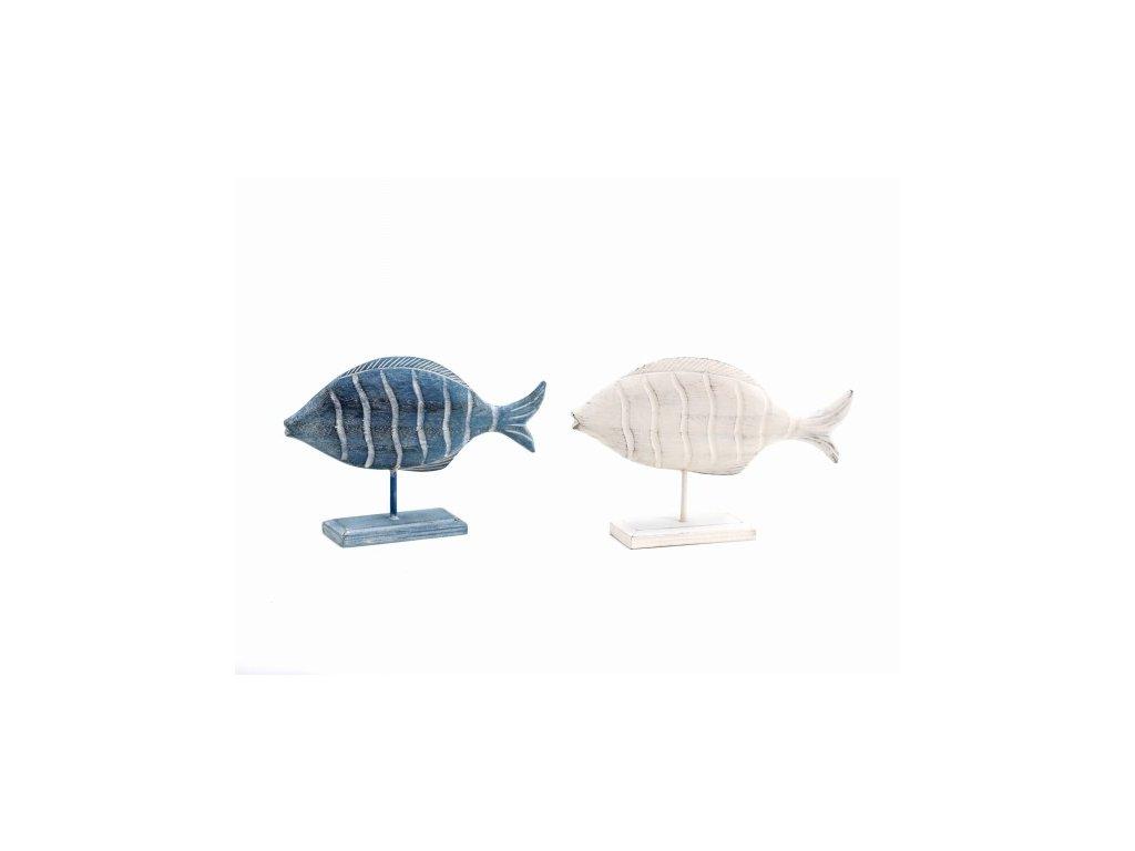 Dekorace ryba na stojánku 14x21x4,5cm (Barva modrá)