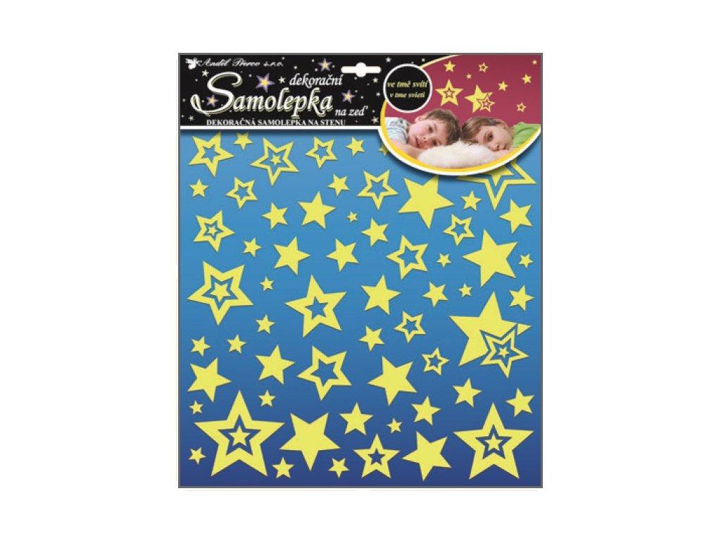 Samolepky na zeď hvězdičky s glitry svítící ve tmě 31x29cm