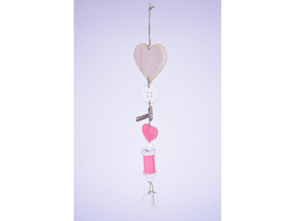 14807 girlanda srdce s knoflikem 10x46x2cm