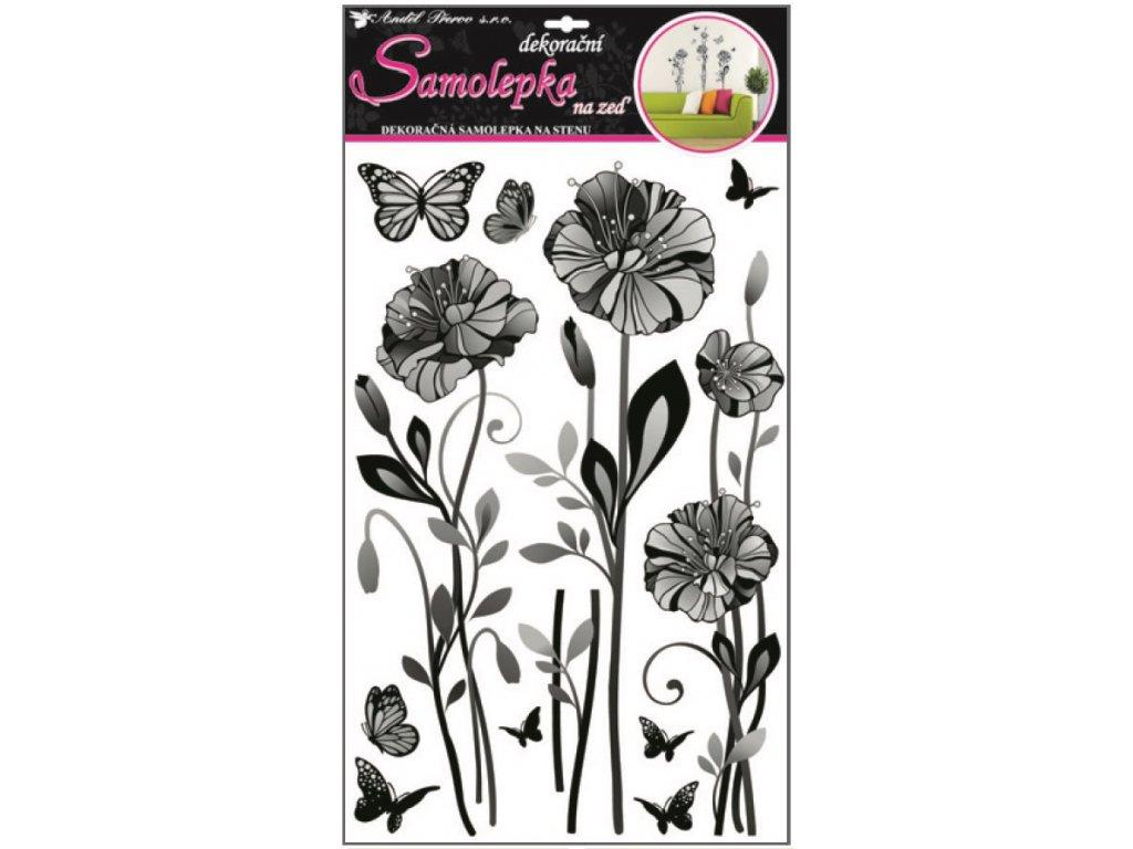 Samolepky na zeď jemné květy 60x32cm