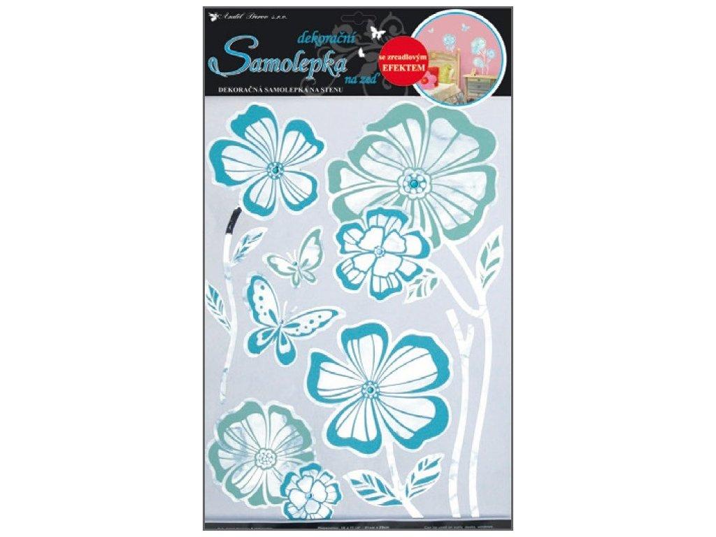 Samolepky na zeď květy s modrou konturou zrcadlové 49x29cm