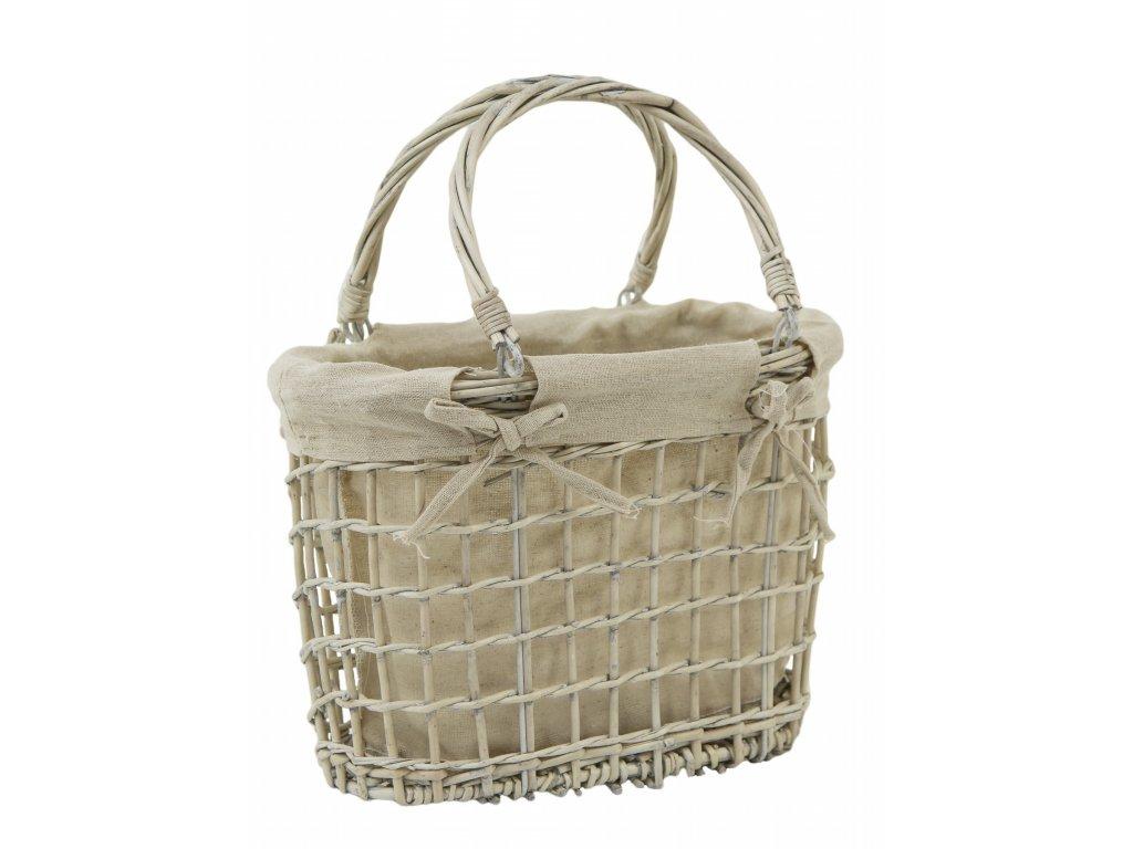 Proutěný koš taška s látkou 30x35x18cm