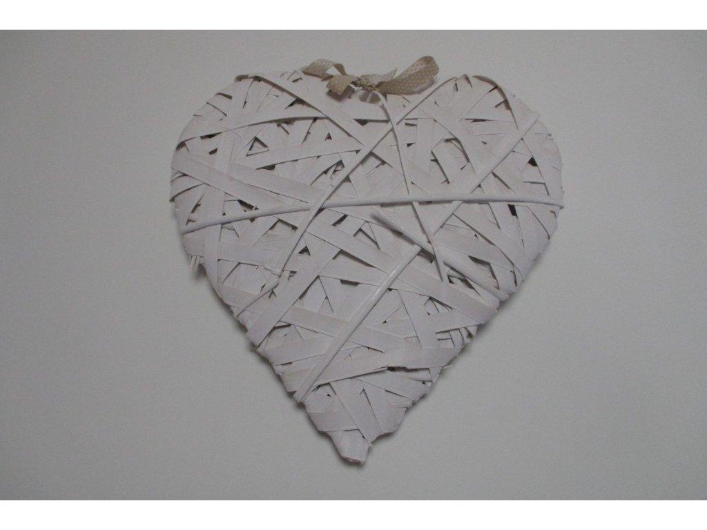 Srdce omotané bílé XL 41x41x5cm
