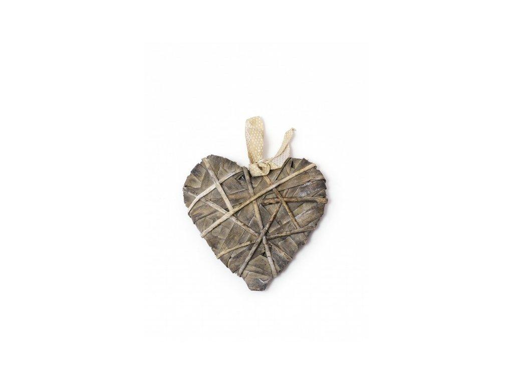 Srdce omotané šedé M 20x20x3cm