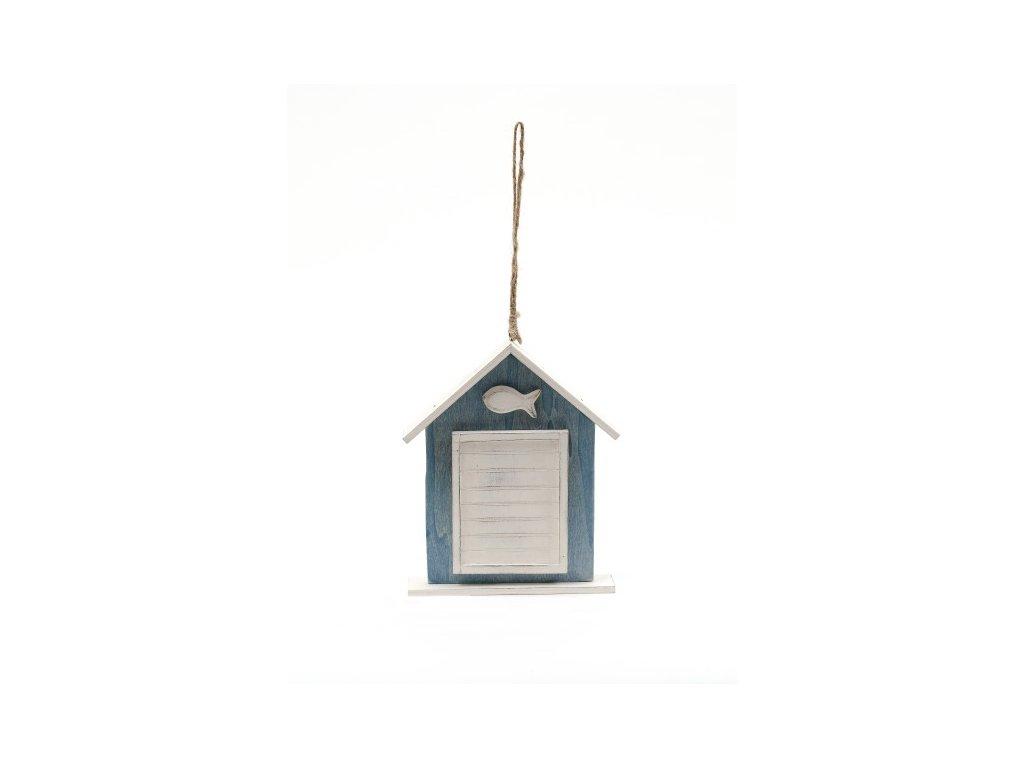 Závěsná dekorace domeček s rybičkou modrobílý 18,5x15,5x3cm