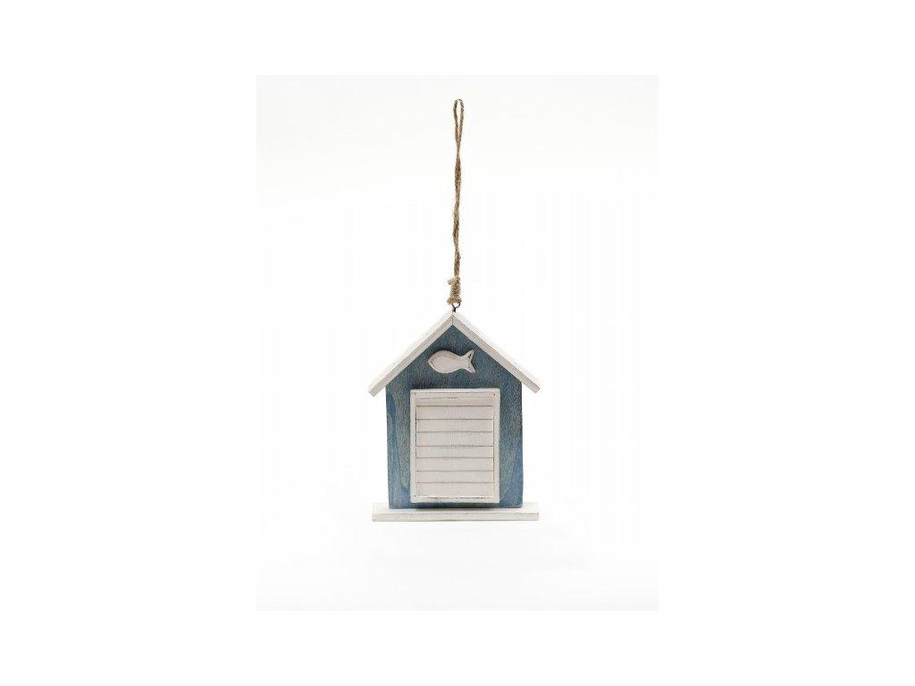 Závěsná dekorace domeček s rybičkou modrobílý 14x11,5x2cm